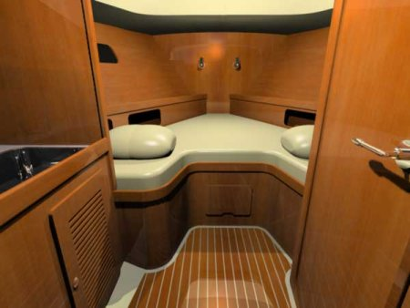 Inside The Boat Has Minimal But Comfortable Accommodations Vee Berth Fully Enclosed Head With Shower Small Galley Fridge Standing Headroom