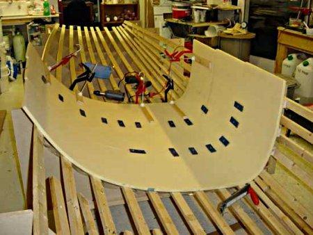 a.b.b. - amateur boat building - vertical foam strip planking